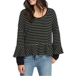 Free People Round About Peplum Striped Tee Size S